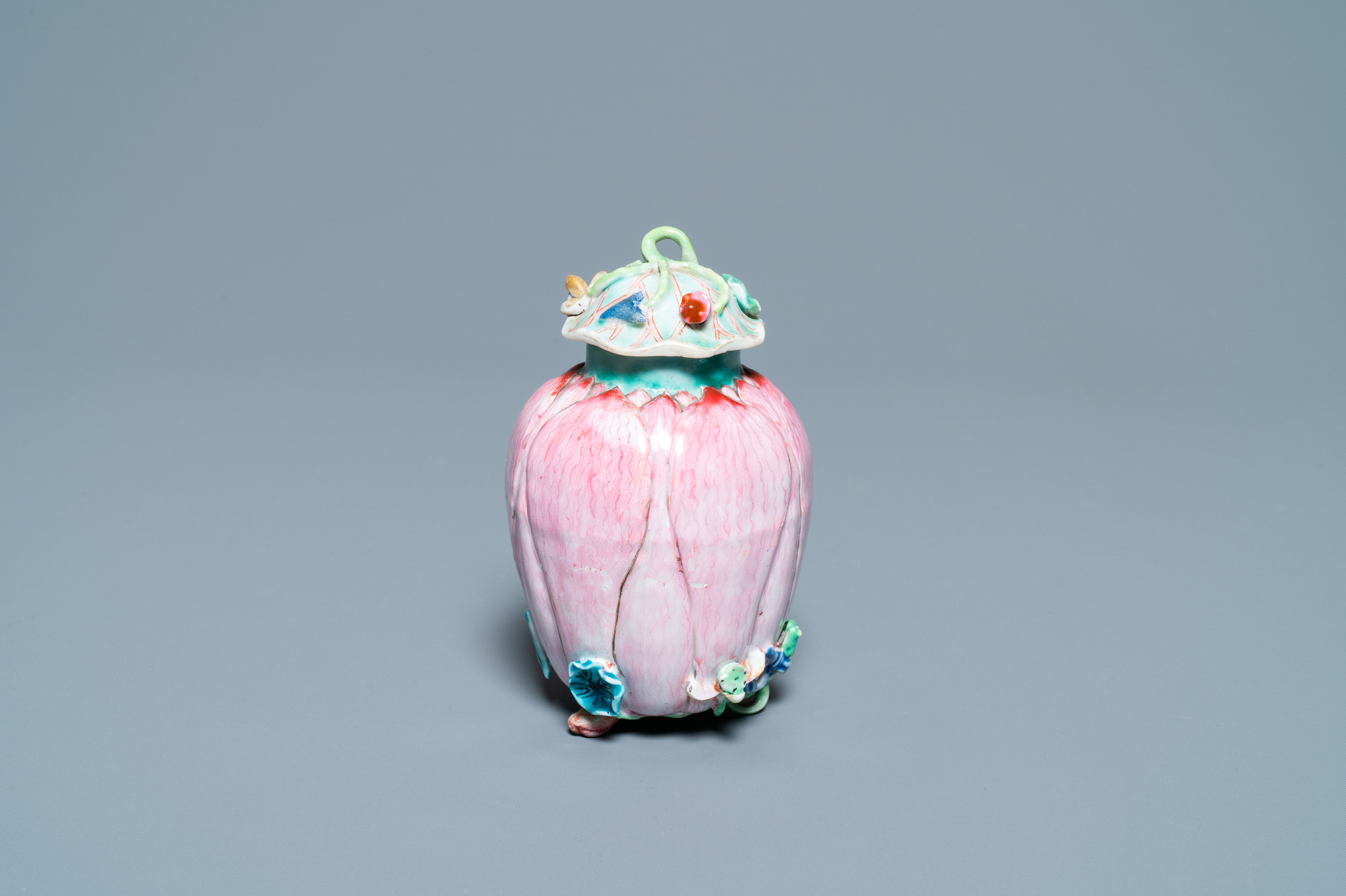A Chinese famille rose 'lotus' tea caddy and cover, Yongzheng