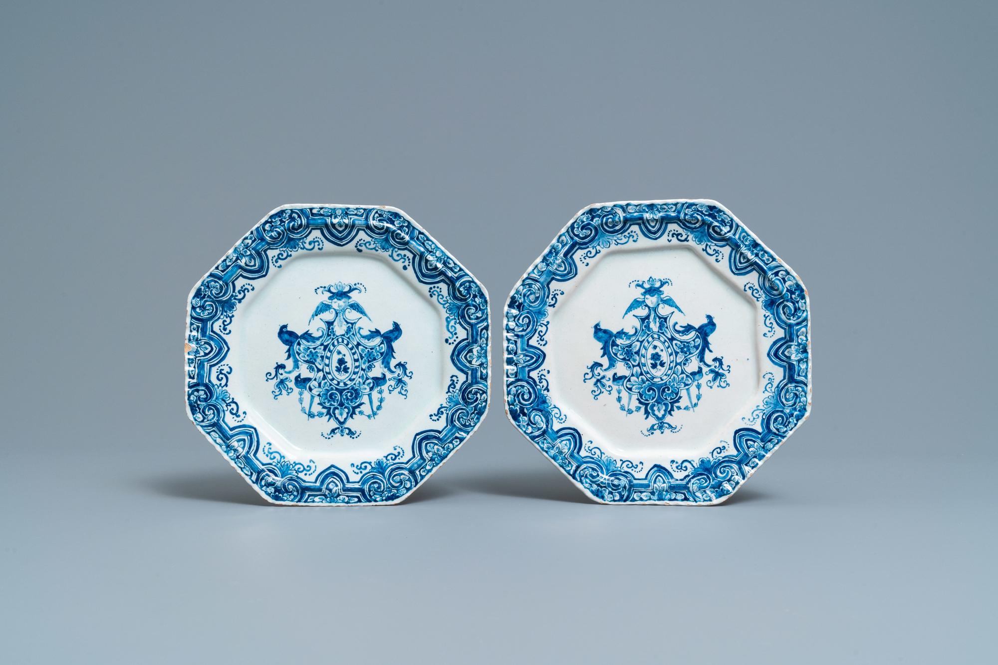 A pair of Dutch Delft blue and white octagonal plates, 18th C.