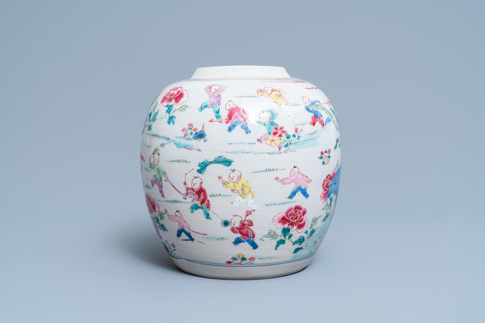 A Chinese famille rose 'hundred boys' jar, Yongzheng - Image 3 of 17