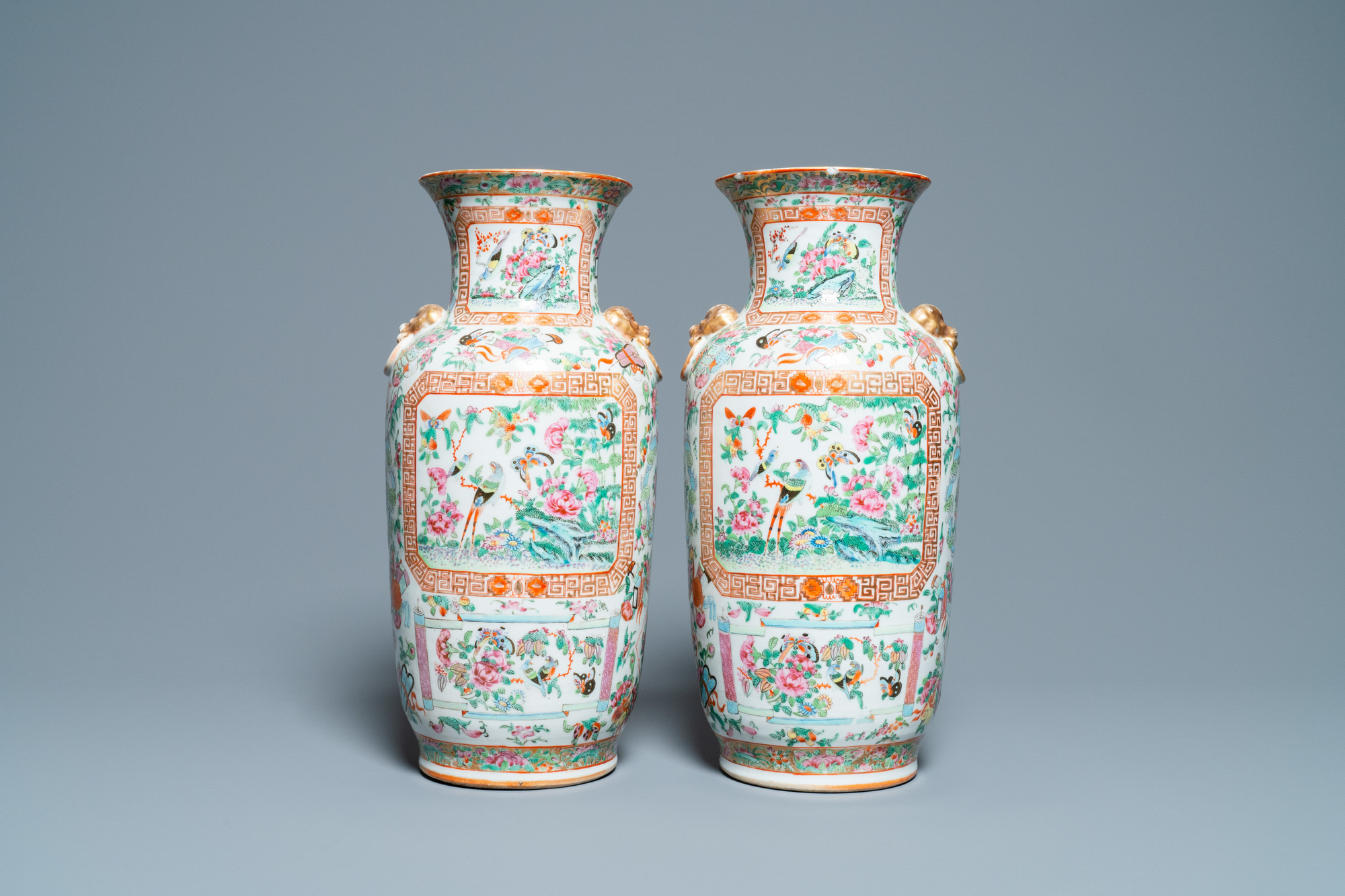 A pair of Chinese Canton famille rose vases, 19th C. - Image 3 of 6