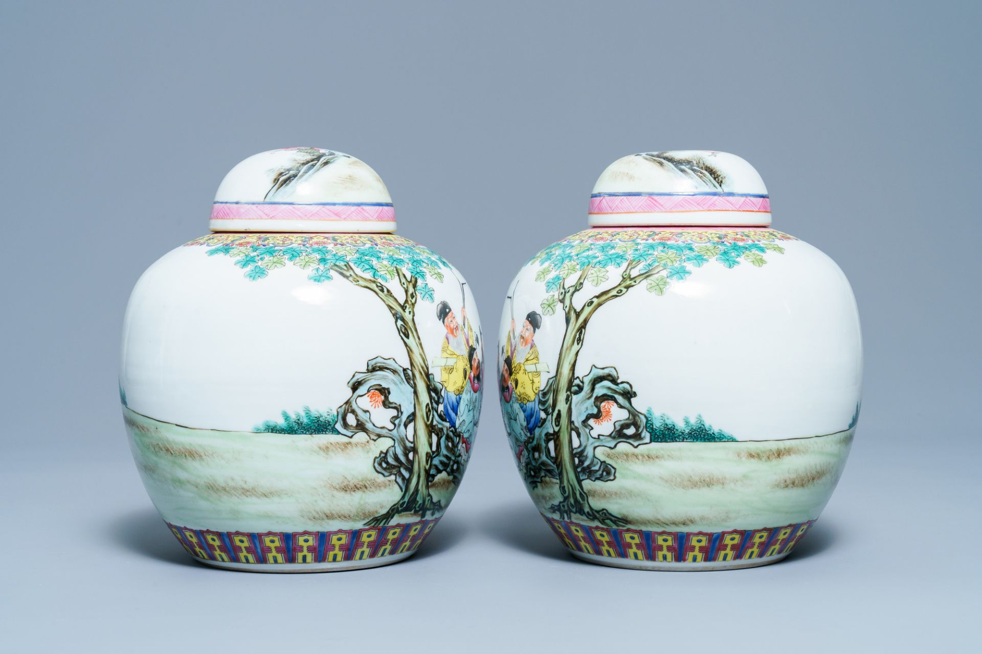 A pair of Chinese famille rose covered jars, Qianlong mark, Republic - Image 4 of 8
