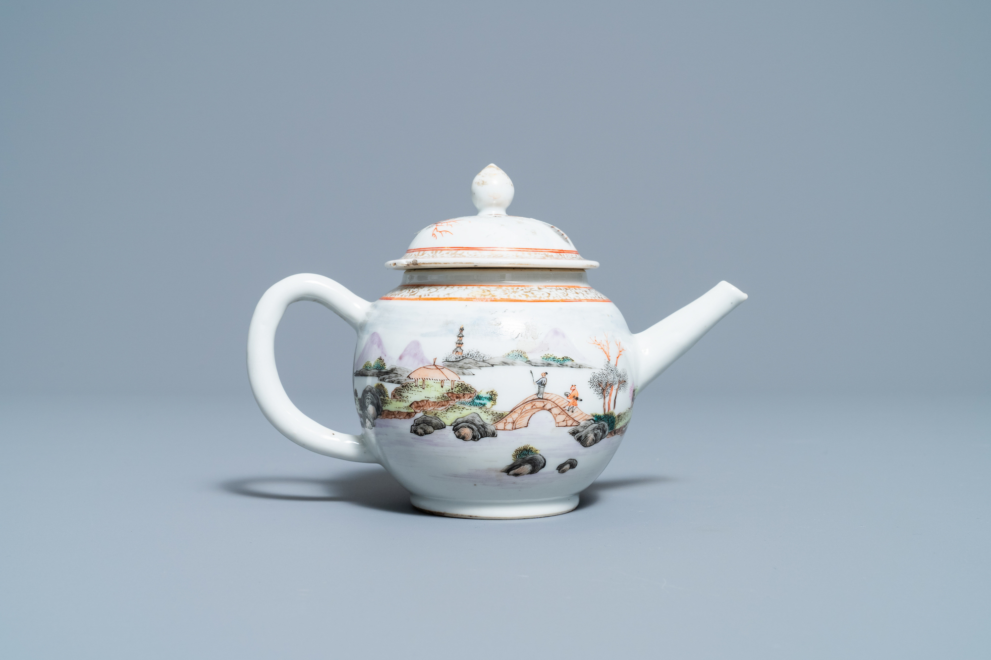 A fine Chinese 'landscape' teapot and a pair of cups and saucers, Yongzheng - Image 12 of 15