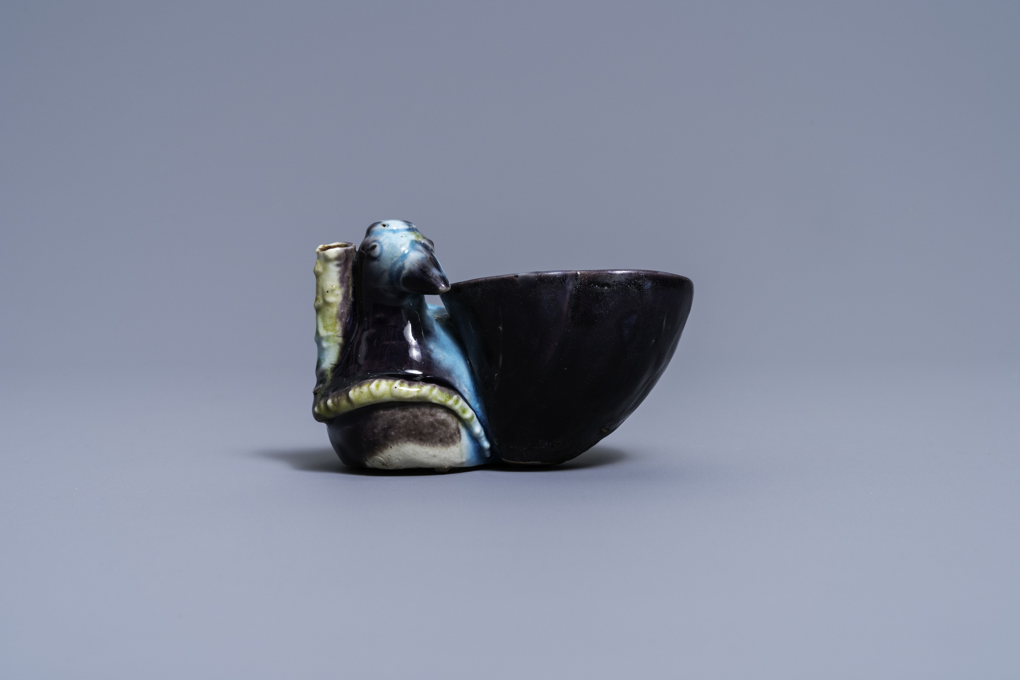 A Chinese aubergine- and turquoise-glazed duck and lotus-shaped water dropper, Kangxi - Image 2 of 7