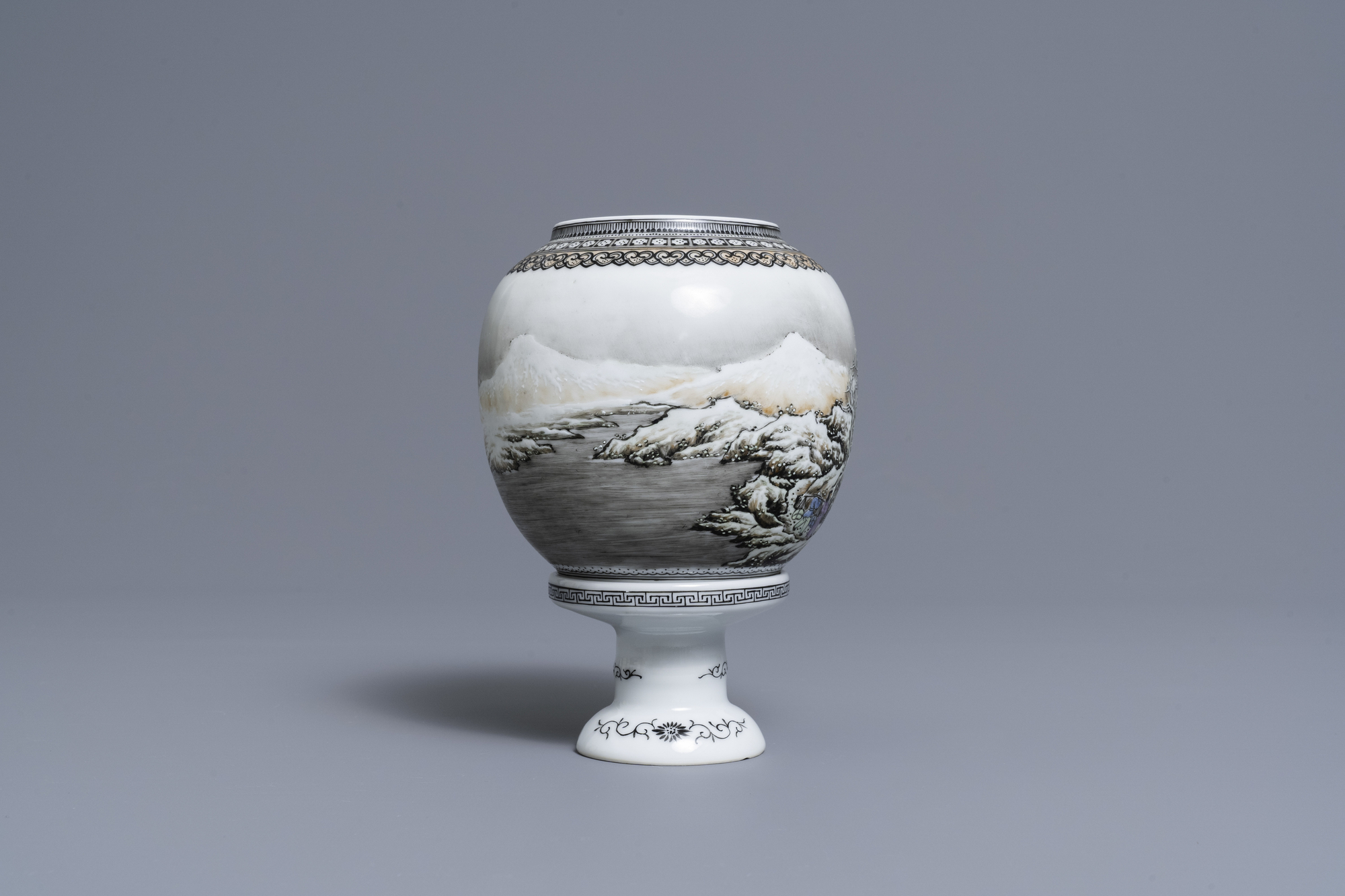 A Chinese eggshell porcelain lantern with a winter landscape, Republic - Image 2 of 8