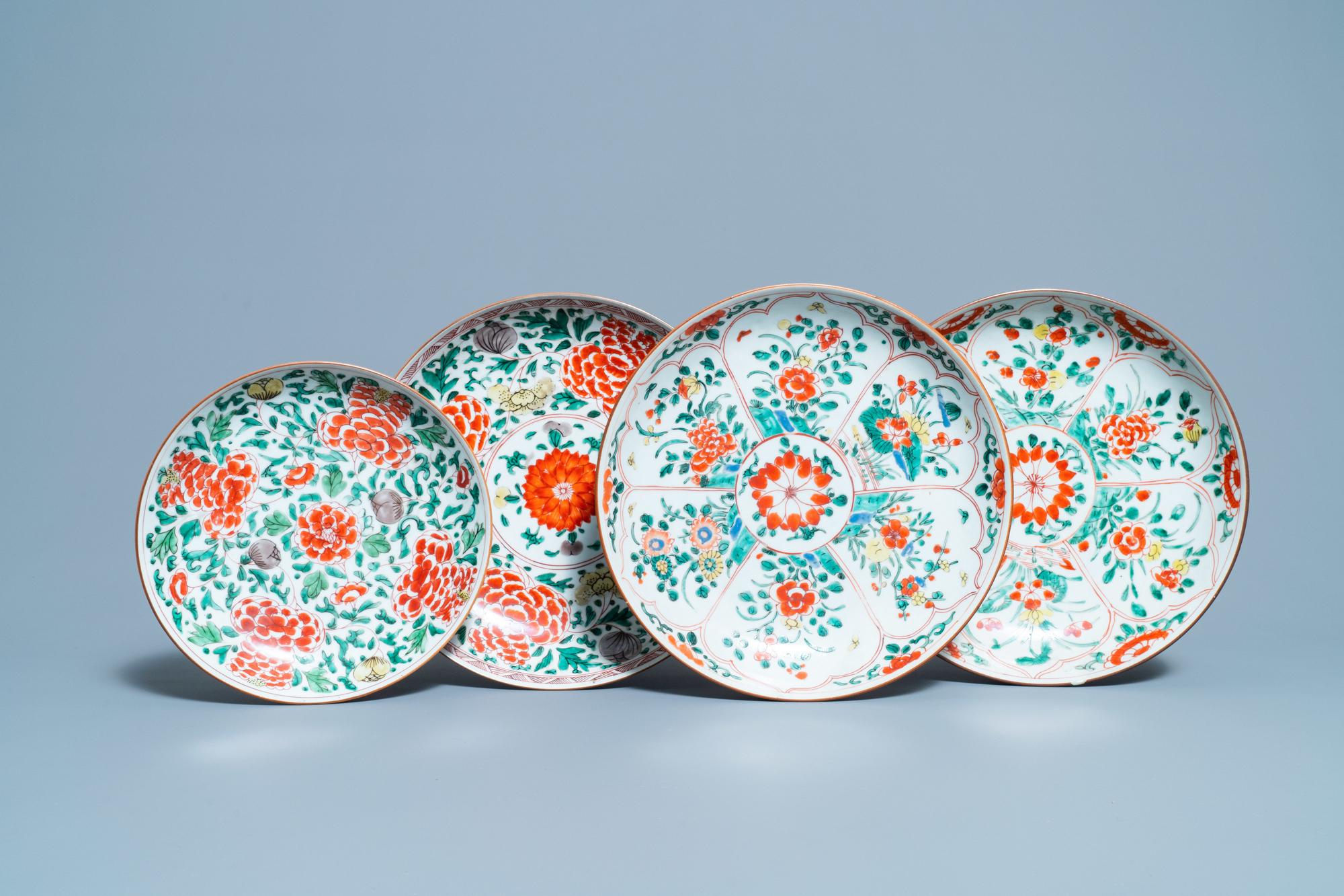 Four Chinese famille verte dishes, Kangxi