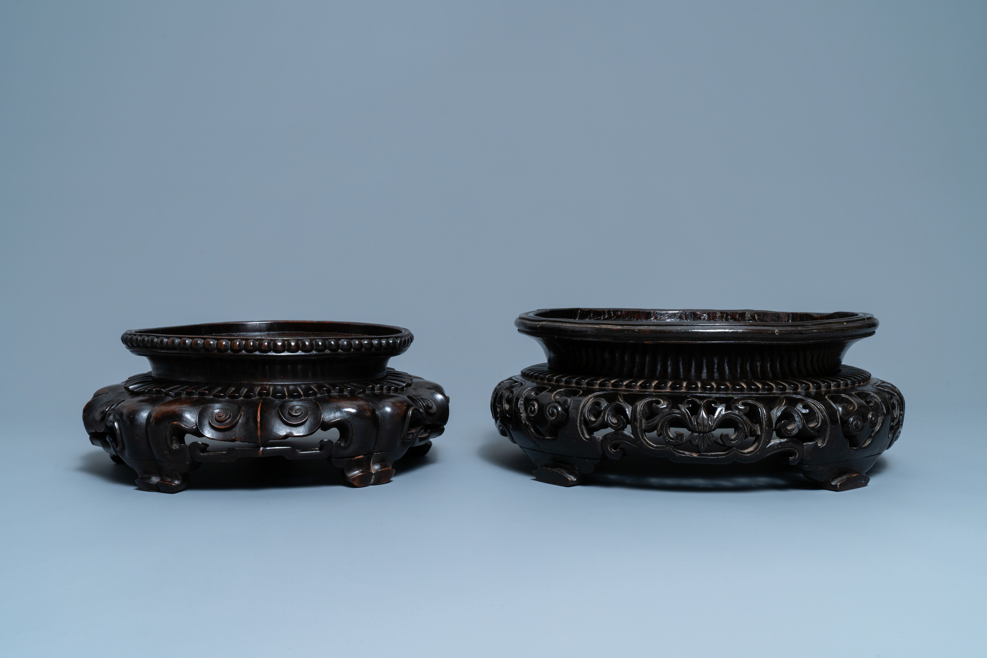 Two large Chinese reticulated wooden stands, 18/19th C. - Image 2 of 7