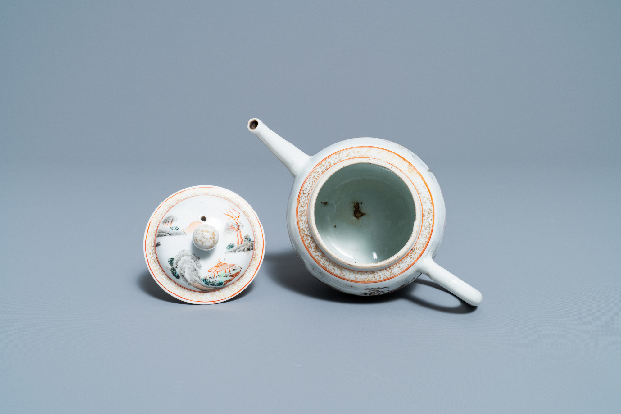 A fine Chinese 'landscape' teapot and a pair of cups and saucers, Yongzheng - Image 14 of 15