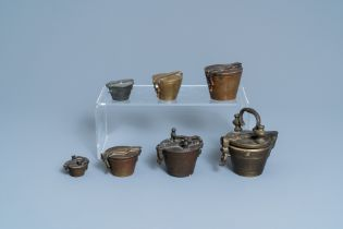 Seven bronze nests of weights, France and/or Germany, 18/19th C.