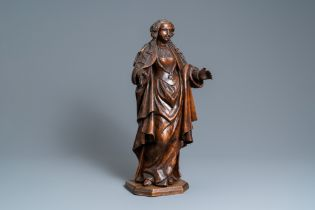 A fruitwood figure of a female saint, Rhine valley, Germany, 2nd half 16th C.