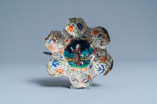 A Limoges enamel bowl depicting Saint Francis and Saint Catharine on the back, France, 1st half 17th