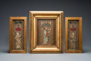 Three linen, silk- and silverthread orphrey fragments depicting Saint Agricola of Bologna, Saint Leo