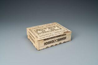 A reticulated bone and wood hunting scene box, Arkhangelsk, Kholmogory, Russia, 18th C.