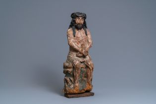 A polychromed limewood or poplar figure of the Pensive Christ, Germany, 15th C.