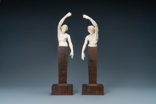 A pair of ivory busts of males, Northern Germany or Italy, 17th C.