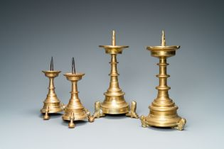 Four bronze candlesticks, Flanders or Germany, 15/16th C.