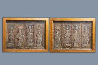 Two large linen, silk- and silverthread orphrey fragments depicting saints below arcatures, Spain, e