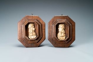 A pair of bone profile busts monogrammed D.L., Flanders or Germany, 19th C.