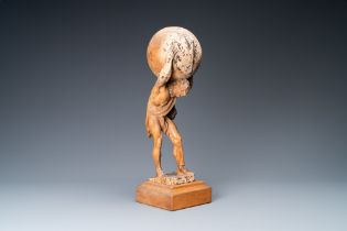 A limewood figure of Atlas carrying the globe, Germany, ca. 1700