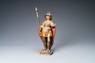 A polychromed and gilded wooden figure of Saint Georges, Southern Germany, 1st quarter 17th C.