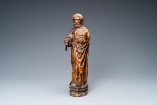 An oak figure of Peter the Apostle, Rhine Valley, Germany, 15th C.