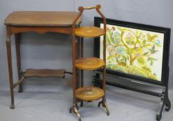 VINTAGE FURNITURE, three items to include an ebonized fire screen enclosing a colourful needlework
