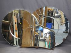 TWO MODERN CIRCULAR WALL MIRRORS and a vintage wall mirror half framed in oak, 90cms diameter, 82.