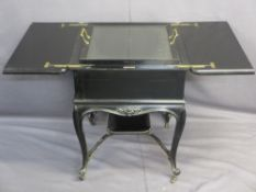 VICTORIAN EBONIZED 'RISE & FALL' DRINKS CABINET stamped Waring & Gillow Limited London, having