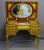 LOUIS XVI STYLE KINGWOOD, INLAID & GILT ORMOLU WRITING DESK, the gilt brass rectangular top with