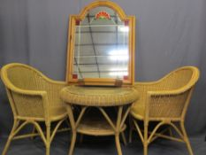 WICKER THREE PIECE CONSERVATORY SUITE and a modern pine wall mirror with shelf, 62cms H, 73cms