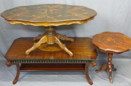 THREE ITALIAN & OTHER INLAID CENTRE/SIDE TABLES including a two-tier example with burr walnut