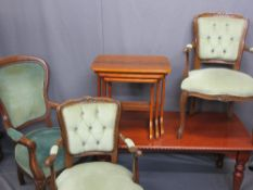ANTIQUE STYLE FURNITURE PARCEL, five items to include a rectangular top mahogany effect coffee