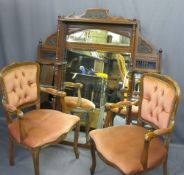 EDWARDIAN OVERMANTLE MIRROR and reproduction button back upholstered armchairs, 135.5cms H, 118.5cms