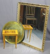 ITALIAN INLAID WORKTABLE, Persian style circular brass table top and a large reproduction gilt
