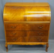 REPRODUCTION MAHOGANY CYLINDER FRONT BUREAU, the fall having interior arrangement of drawers and