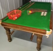 RILEY OAK DINING TABLE/HALF SIZE SNOOKER TABLE with handle adjustments, a set of six high back oak