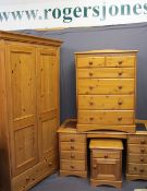 MODERN PINE FOUR PIECE BEDROOM SUITE, retailed by Marks & Spencers, consisting of a two-door