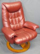ULTRA MODERN RED LEATHER EFFECT STRESSLESS ARMCHAIR with reclining action on a swivel base, 102.5cms