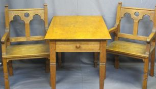 CIRCA 1900 GOTHIC OAK STYLE ARMCHAIRS, a pair and a rectangular top table with twin-end drawers on