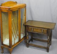 VINTAGE & LATER OAK FURNITURE, two items to include an Art Deco railback two door china display
