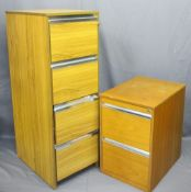 TWO MODERN LIGHT WOOD EFFECT FILING CABINETS including a four-drawer example locking with key,