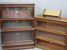 TWO GLOBE WERNICKE MAHOGANY SECTIONAL BOOKCASES, one having three opening glazed doors with top