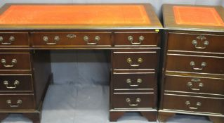 REPRODUCTION MAHOGANY PEDESTAL DESK & MATCHING FILING CABINET with inset gilt tooled red leather