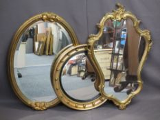 GEORGIAN STYLE CIRCULAR BOBBLE MIRROR and two further gilt framed wall mirrors, 54.5cms diameter,
