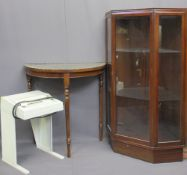 HOUSEHOLD & OFFICE FURNITURE including a reproduction half-moon hall table with gilt tooled