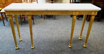 MODERN CLASSICAL REVIVAL STYLE GILTWOOD & COMPOSITION CONSOLE TABLE, with marble top, 150 x 38 x 82