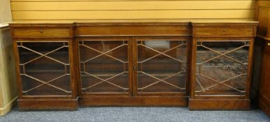 19TH CENTURY MAHOGANY LIBRARY LOW BOOKCASE, of inverted breakfront outline, with frieze drawers