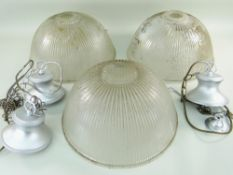 THREE VINTAGE RIBBED GLASS PENDANT CEILING SHADES, with later fittings, 37.5cm diam. (3)