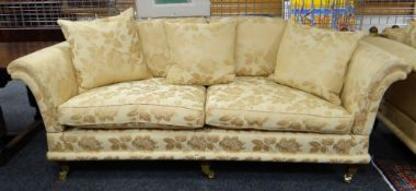 DAVID GUNDRY LARGE DROP-END OR KNOLE SOFA, 'Florence' model, in gold floral damask fabric, 234 x 107