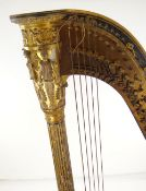 WILLIAM IV DOUBLE-ACTION PARCEL GILT GRECIAN HARP BY JACOB & JAMES ERAT, c. 1830-35, the 43-string