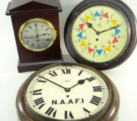 THREE MILITARY TYPE CLOCKS, comprising a dial clock with later RAF Sector style dial and single